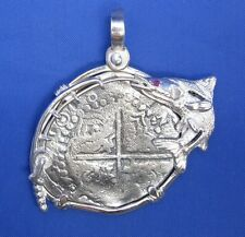 Large Sterling Silver Atocha Treasure Coin Cob Replica Pendant Snook Fishing Rod