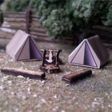 Osborn Models N Gauge Camping Scene (2) With Tents,Fire Pit etc NEW Kit #RRA3113