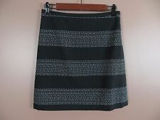 SK05176- ANN TAYLOR LOFT Woman Cotton A-Line Mini Skirt Black White Stripe Sz 0