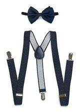 Navy Blue Suspender and Bow Tie Set for Adults Men Women Teenagers (USA)
