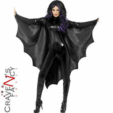 Ali da Pipistrello Vampiro Costume Halloween adulto Nero Mantello Ladies Fancy Dress New