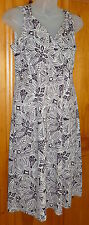 WILLI SMITH Off-White & Brown High Waist Split Plunge DRESS Ethnic Print Size S