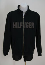 MENS TOMMY HILFIGER SWEATSHIRT ZIP CARDIGAN JACKET FLEECE INSIDE BLACK L LARGE