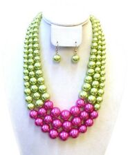 Chunky Layered pink and green Pearl Necklace set with Earrings aka new free ship