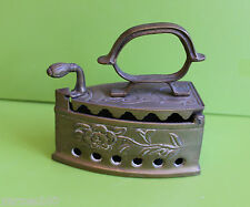 Vintage Brass Charcoal Iron Press hinged lid decorative with patina
