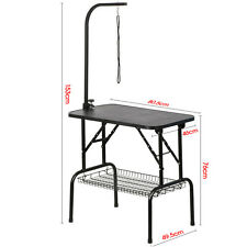 """Large Portable Pet Dog Cat Grooming Table Dog Show W/Arm&Noose & Mesh Tray 32"""""""