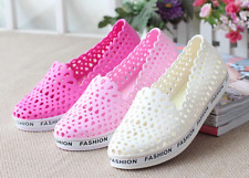 PINK US8 Womens Hollow Out Jelly Flat Heel Casual Sandals Breathable Beach Shoe