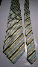 Pierre Cardin Men's Vintage Silk Tie in a Black Green Blue and Silver Stripe