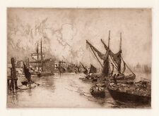 "Fascinating Original STEPHEN PARRISH 1800s Etching ""On the Thames"" SIGNED COA"