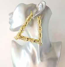 Gorgeous HUGE gold tone triangle shaped bamboo creole hoop earrings -   #B2