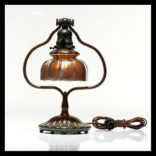 Louis LCT TIFFANY Rare Bronze Lamp w Favrile Glass Shade Signed Antique Artwork
