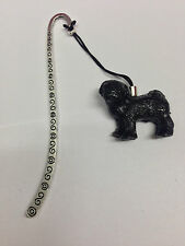 Standing Pug Black Animal 3D Emblem on a pattern bookmark with cord