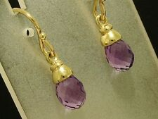 E110 - Genuine Solid 9ct Gold NATURAL Amethyst Briolette Drop Earrings