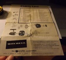 Vintage Early Garcia Mitchell 300 Fishing Reel Paper w/ schematic
