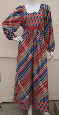 Vintage 1970's COOP Fashionsuite Colourful Striped Maxi Party Dress - Size 10