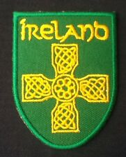 IRELAND IRISH CELTIC CROSS  FLAG BADGE IRON SEW ON PATCH CREST