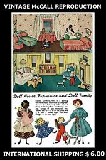 McCall # 1002 Doll House Furniture Family Fabric Sewing Pattern RARE Toy Vintage