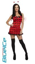 SEXY RED LADYBUG COSTUME ANTENNAE WINGS UK 10/12 CARNIVAL FANCY DRESS COSTUME