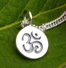 Yoga Jewelry Spiritual Pendant Ohm Om Charm Disc Sterling Silver for Necklace