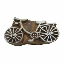 Bicycle Decorative Printing Block Handcarved Wood Block Art Wooden Textile Stamp