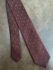 PAUL SMITH 100% SILK IRIDESCENT MAROON POLKA DOT NARROW TIE MADE IN ITALY