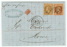 France Cover - Nap III - 1870 Marseille to Roma (IT)