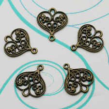 Charm Pendant Antique Bronze Pierced Heart Connector Beaded Jewellery Findings