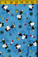 Snoopy & Woodstock Hugs for Military Heroes cotton quilt fabric Tossed on Blue