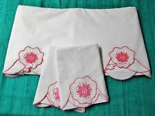 Antique European Sheet & Pillow Case Set Pink & White Crocheted Rosettes