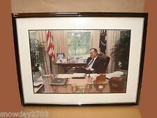 "President George Bush Picture In Oval Office   31 x 24 x 1"" Outer Frame"