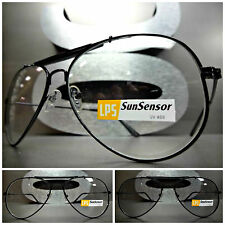 VINTAGE AVIATOR Style SUNGLASSES Black Frame Transition Lens Darkens in Sunlight