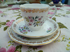 Pretty Vintage Royal Grafton English China Trio Tea Cup Saucer Gilded Floral