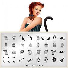 Moyou London Stamping Schablonen Plate Katzen Käfig Vogel Schlüssel Kitty #11