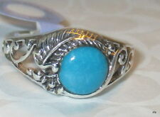 925 Sterling Silver Round Cut Natural Turquoise Filigree Scrolled Band Ring