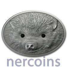 Fiji 2013 Hedgehog $10 Fascinating Wildlife 1 Oz Silver Coin with Gemstones