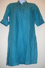 NWT LEMON MOI TEAL EMBROIDERED FANCY LINEN COTTON TOP TUNIC M CHECK MEASUREMENTS