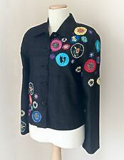 Tunique Nights black silk Chinese design embroidered jacket, size S, NWOT
