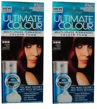 2 x SCHWARZKOPF MULTI USAGE BROWN PERMANENT HAIR COLOUR FOAM 388 DARK RED NEW