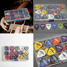 100X Lots Acoustic Electric Guitar Picks Plectrum Various 6 thickness + Pick Box