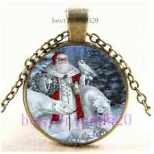 Vintage Father Christmas Photo Cabochon Glass Bronze Chain Pendant Necklace#D30