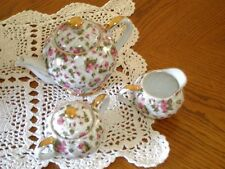 Vintage ~ Royal Sealy ~ Japan ~ Tea Pot ~  Sugar & Creamer ~  Pink Floral Set
