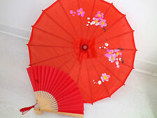 JAPANESE SMALL RED PARASOL PAPER HAND FAN CHINESE UMBRELLA WEDDING GIRL PARTY