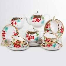 Russian Porcelain Tea set Dulevo Kalinka 6 pers 15 pc Kuznetsov Porcelain