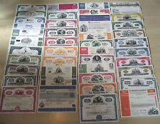 81 DIFF RARE OLD US STOCKS 37c! INCLUDES RAILROAD, AVIATION, AUTO, PHARMA & MORE