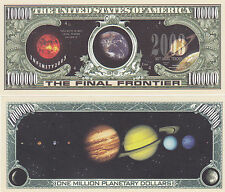 Two Solar System Planetary Dollars Final Frontier Novelty Currency Bills # 067
