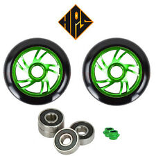 2X PRO STUNT SCOOTER GREEN TWISTER METAL CORE WHEELS 100mm 88A ABEC 11 BEARINGS
