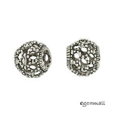 1PC Antique Sterling Silver Filigree Rondelle European Charm Bead 10mm #99225