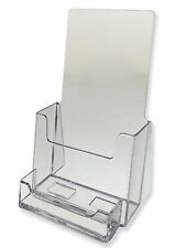 2 Pack Clear Tri-Fold Brochure Holder with business card AZM FREE SHIP