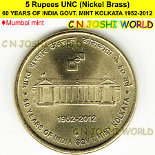 60 YEARS OF INDIA GOVT. MINT KOLKATA 1952-2012 NICK-BRASS Rupees 5 UNC# 10 Coin