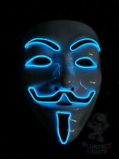 NEON BLUE Guy Fawkes Vendetta Anonymous DJ Rave Party Halloween Costume Mask!